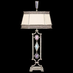 Fine Art Lamps Encased Gems Vintage Silver Leaf Table Lamp with Hexagon Shade