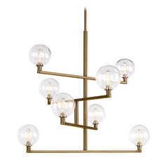 Mid-Century Modern Brass Chandelier LED by Tech Lighting