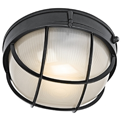 Kichler Outdoor Wall Light with White Glass in Black Finish