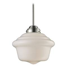 Schoolhouse Pendant Light with White Glass in Satin Nickel Finish