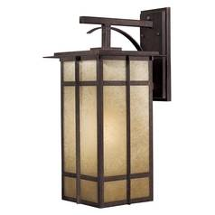 Outdoor Wall Light with Beige / Cream Glass in Iron Oxide Finish