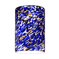 Cylinder Shade with Blue Art Glass - Lipless with 1-5/8-Inch Fitter Opening