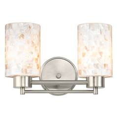 Bathroom Light with Mosaic Glass in Satin Nickel Finish