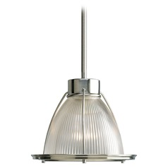 Modern Prismatic Glass Mini-Pendant Light Brushed Nickel Progress Lighting