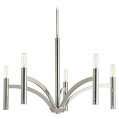 Industrial Chandelier Polished Nickel Draper by Progress Lighting