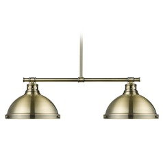 Golden Lighting Duncan Ab Aged Brass Billiard Light with Bowl / Dome Shade