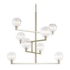 Mid-Century Modern Satin Nickel Chandelier LED by Tech Lighting