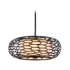 Pendant Light with Natural / Beige Diffuser with Metal Overlay