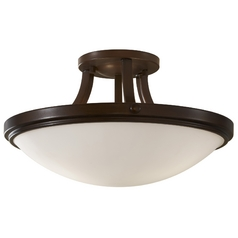 Modern Semi-Flushmount Light with White Glass in Heritage Bronze Finish