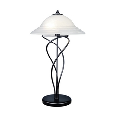 Lite Source Lighting Majesty Black Table Lamp with Bowl / Dome Shade
