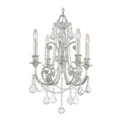 Crystal Mini-Chandelier in Olde Silver Finish