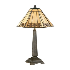 Accent Lamp with Art Glass in Bronze Finish