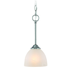 Jeremiah Raleigh Satin Nickel Mini-Pendant Light with Bowl / Dome Shade