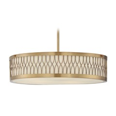 Savoy House Lighting Spinnaker Warm Brass Pendant Light with Drum Shade