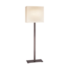 Modern Floor Lamp with White Shades in Black Brass Finish