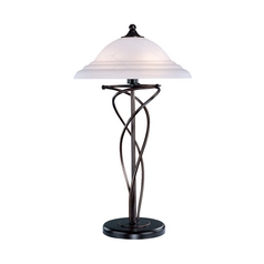 Modern Table Lamp with Alabaster Glass in Dark Bronze Finish