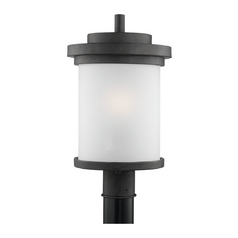 Modern Post Light with White Glass in Forged Iron Finish