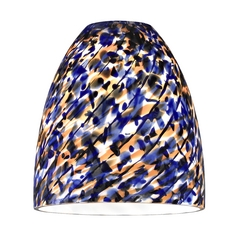 Bell Shade with Blue Art Glass - Lipless with 1-5/8-Inch Fitter Opening