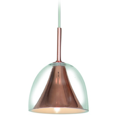 Access Lighting Metalico Rose Gold Mini-Pendant Light with Bowl / Dome Shade