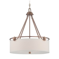 Designers Fountain Gramercy Park Old Satin Brass Pendant Light with Drum Shade
