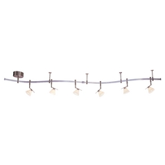 Nickel Finish Rail Light Kit with Six Lights - 10-Feet Long