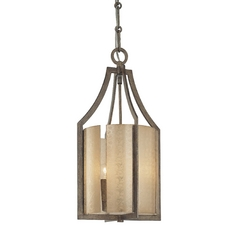 Pendant Light with Beige / Cream Glass in Patina Iron Finish