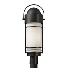 Modern Post Light with White Glass in Dark Chocolate Finish