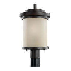 Modern Post Light with Beige / Cream Glass in Misted Bronze Finish