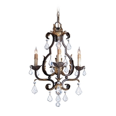 Mini-Chandelier in Venetian/gold Leaf/swarovski Crystal Finish