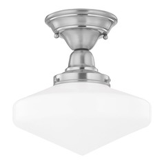 Design Classics Lighting 10-Inch Period Lighting Schoolhouse Ceiling Light in Satin Nickel  FBS-09 / GE10