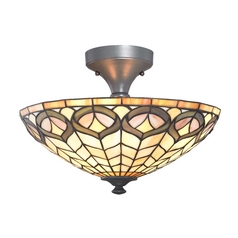 Design Classics Lighting Tiffany Glass Ceiling Light in Bronze Finish with Two Lights 1629-140