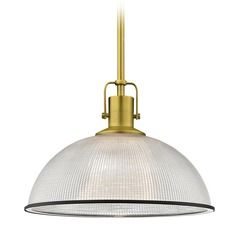 Farmhouse Industrial Prismatic Pendant Light Brass / Black 13.13-Inch Wide
