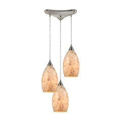 Elk Lighting Capri Satin Nickel Multi-Light Pendant with Bowl / Dome Shade