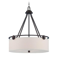 Designers Fountain Gramercy Park Old English Bronze Pendant Light with Drum Shade