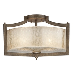 Semi-Flushmount Light with Beige / Cream Glass in Patina Iron Finish
