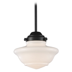 Schoolhouse Mini-Pendant Light with White Glass