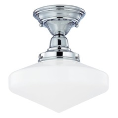 Design Classics Lighting 10-Inch Schoolhouse Semi-Flushmount Ceiling Light in Chrome Finish FBS-26 / GE10
