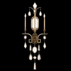 Fine Art Lamps Encased Gems Bronze Patina Sconce