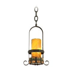 Kalco Lighting Cordova Natural Iron Mini-Pendant Light with Cylindrical Shade