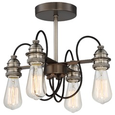 Minka Uptown Edison Harvard Court Bronze with Pewter Semi-Flushmount Light