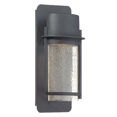 Minka Lighting Modern Outdoor Wall Light with Clear Glass in Black Finish 72251-66