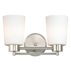 Design Classics Lighting Modern Bathroom Light with White Glass in Satin Nickel Finish 702-09 GL1027