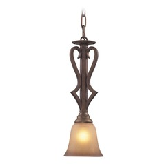 Elk Lighting Lawrenceville Mocha LED Mini-Pendant Light with Bell Shade