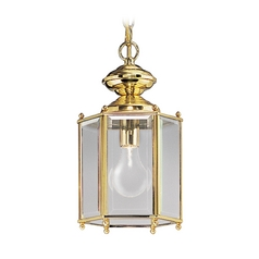 Progress Outdoor Hanging Light with Clear Glass in Polished Brass Finish P5834-10