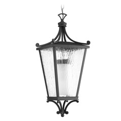 Etched Seeded Glass Outdoor Hanging Light Black Progress Lighting