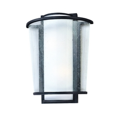 Modern Outdoor Wall Light with White Glass in Forged Bronze Finish