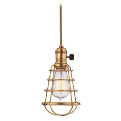 Mini-Pendant Light with Gold Cage Shade