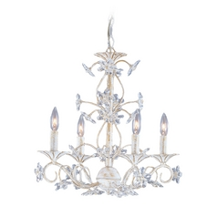 Crystal Mini-Chandelier in Antique White Finish