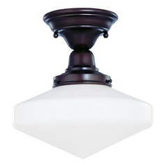 Design Classics Lighting 10-Inch Schoolhouse Semi-Flushmount Ceiling Light In Bronze FBS-220 / GE10
