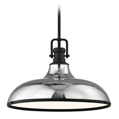 Industrial Chrome Large Pendant Light with Black Accents 18.38-Inch Wide